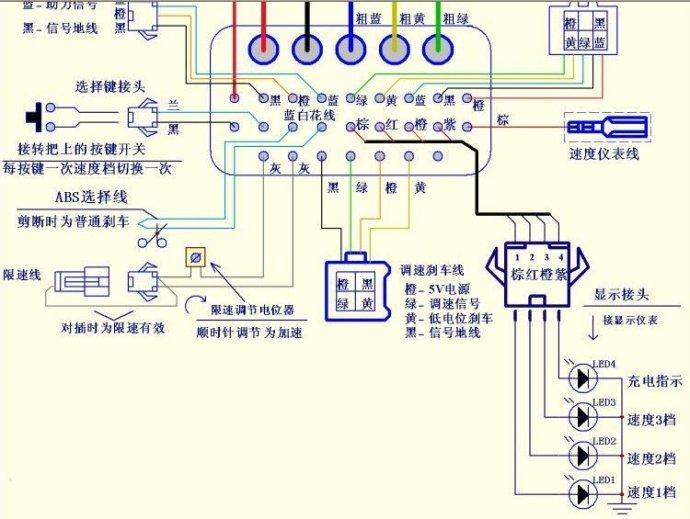 电动三轮车无刷控制器接线图说明